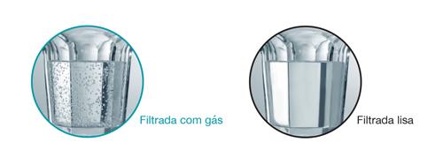 A água TRANSPARENTE é servida pode ser produzida em 2 versões: com gás ou ao natural. Pode ajustar o nível de gás, a temperatura, ou a dose de água com o premir de um simples botão.